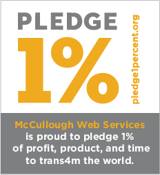 McCullough Web Services pledge 1 percent badge
