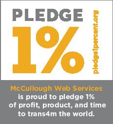 McCullough Web Services pledge 1 percent badge
