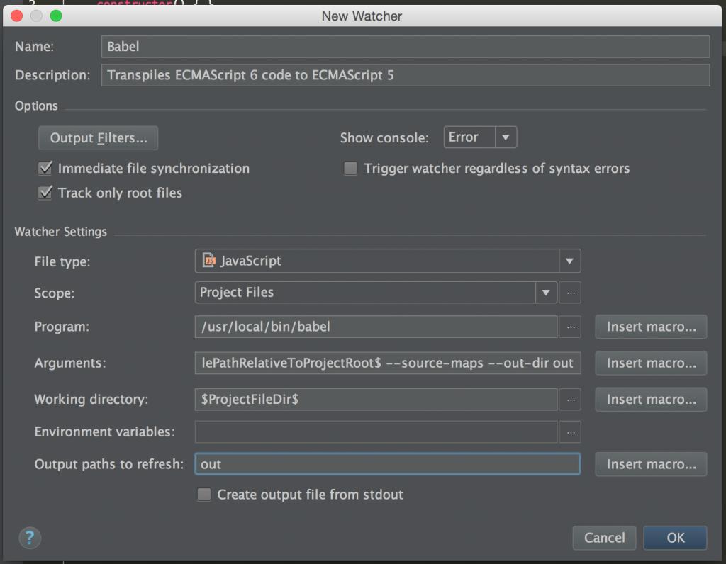 WebStorm screenshot: Babel plugin preferences