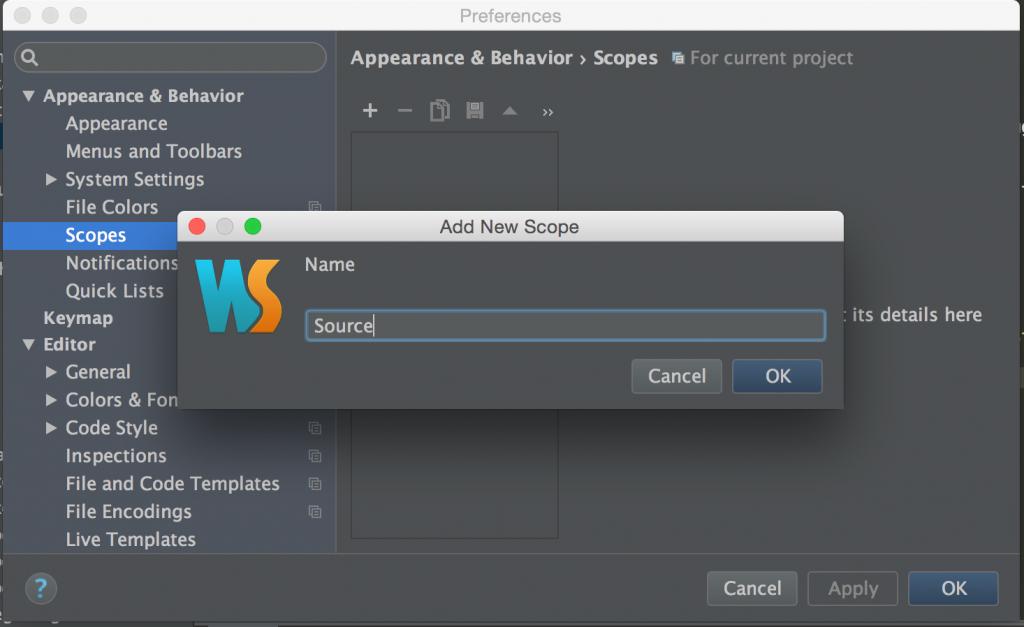 WebStorm screenshot: Naming a new Scope