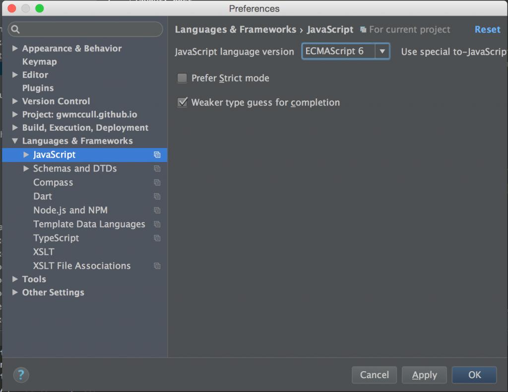 WebStorm screenshot: Change JavaScript version