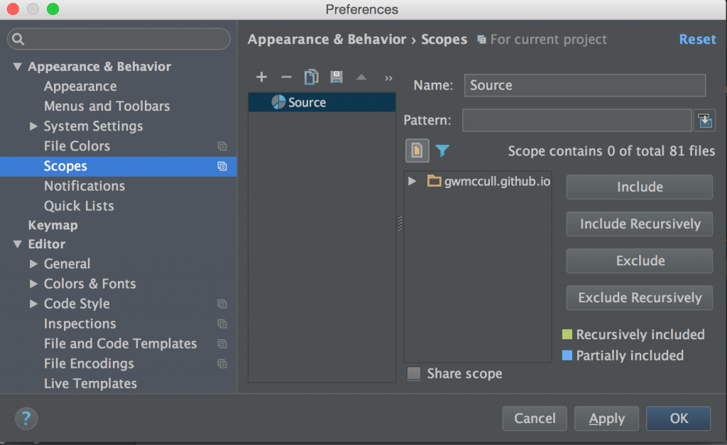 WebStorm screenshot: Adding files to a Scope