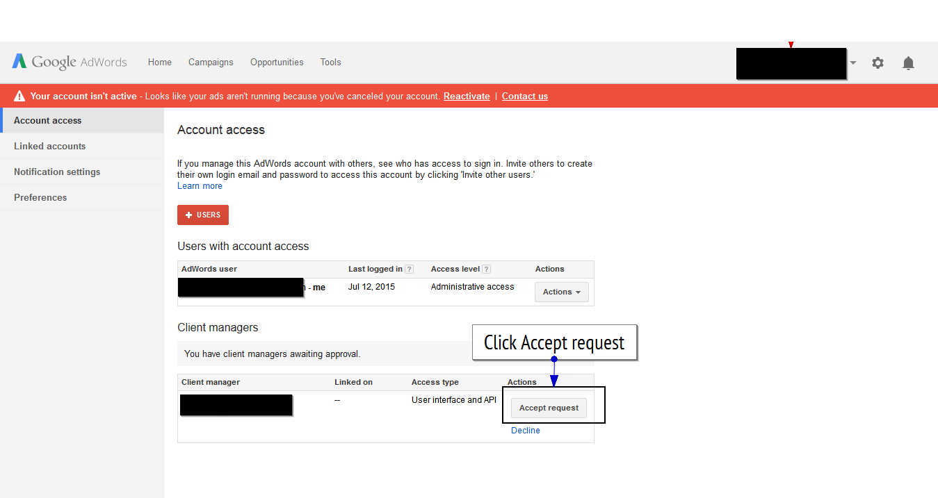 Google AdWords account access page