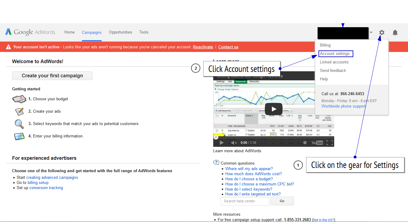 Google AdWords Account homepage