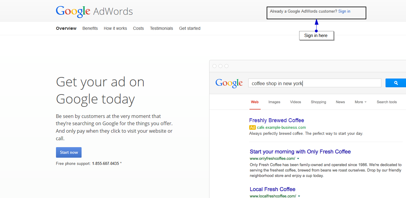 Google AdWords homepage