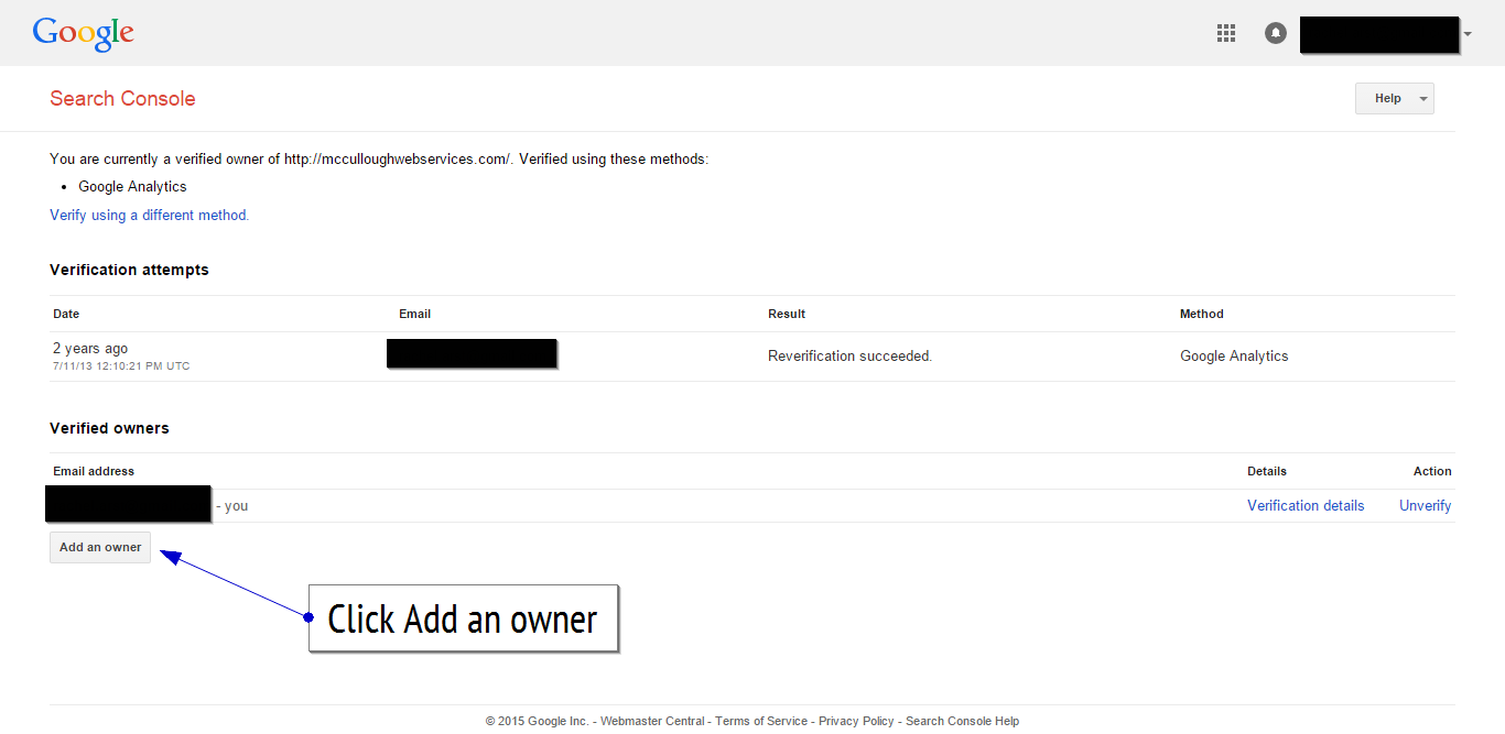 Google search console add an owner
