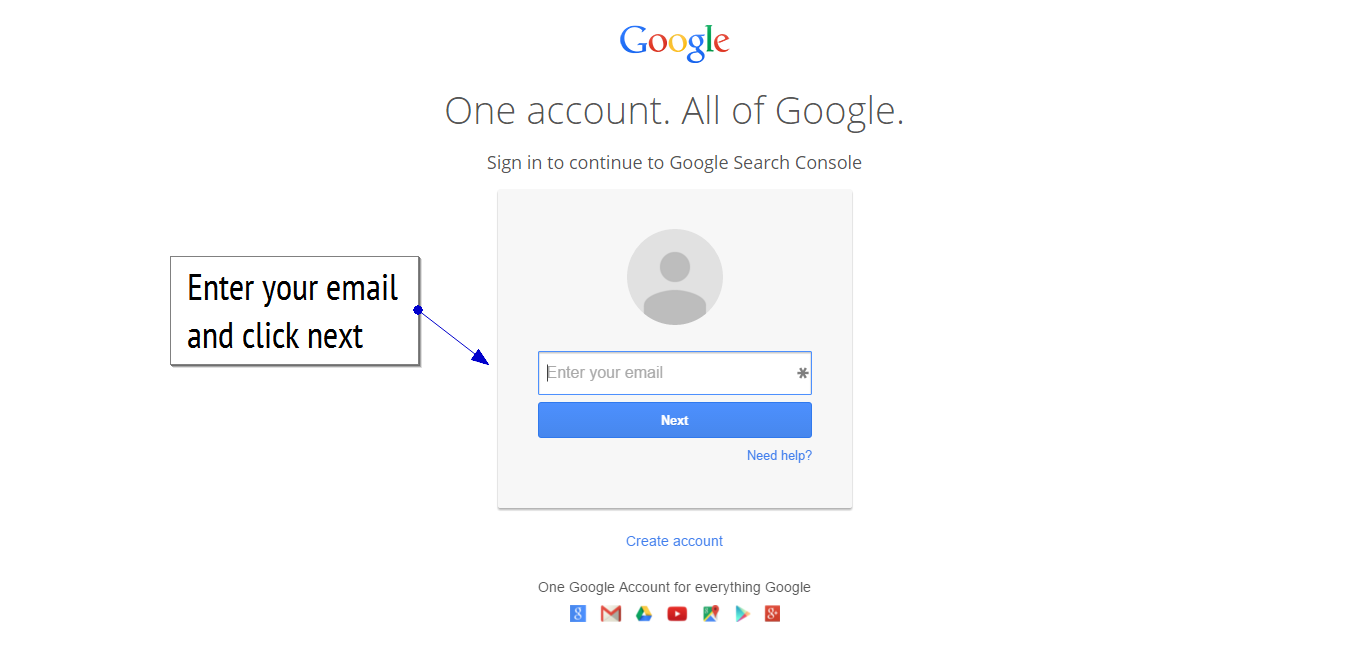 Google search console login screen step 1