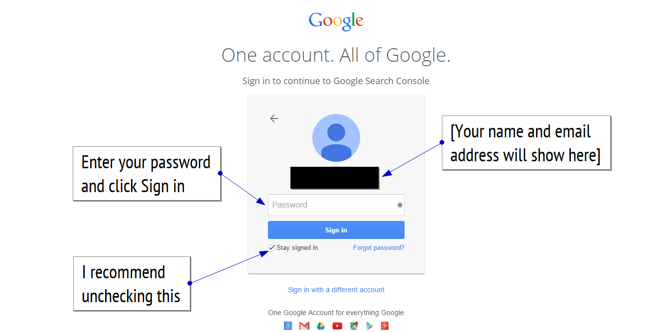 Google search console login screen step 2