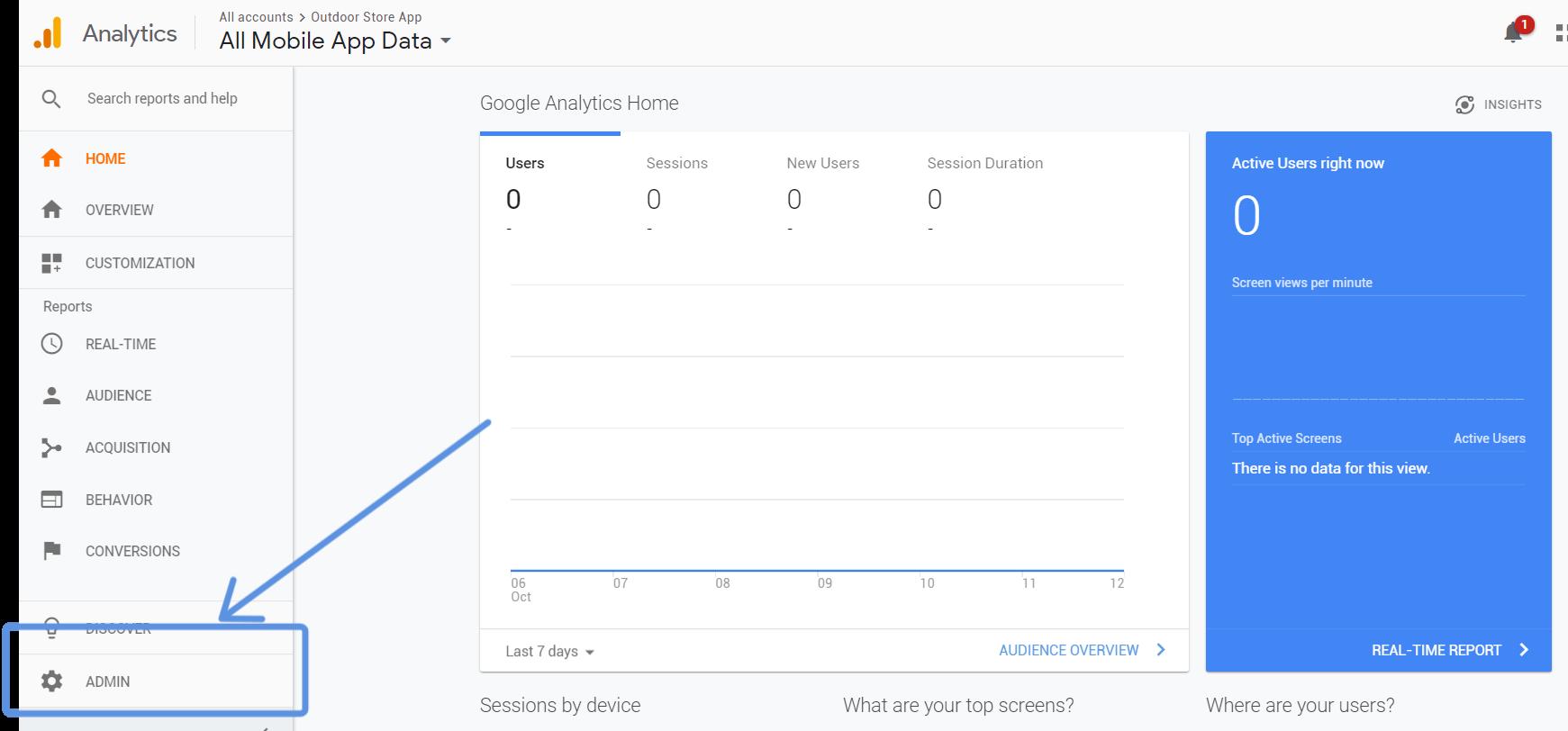 navigation to Google Analytics admin