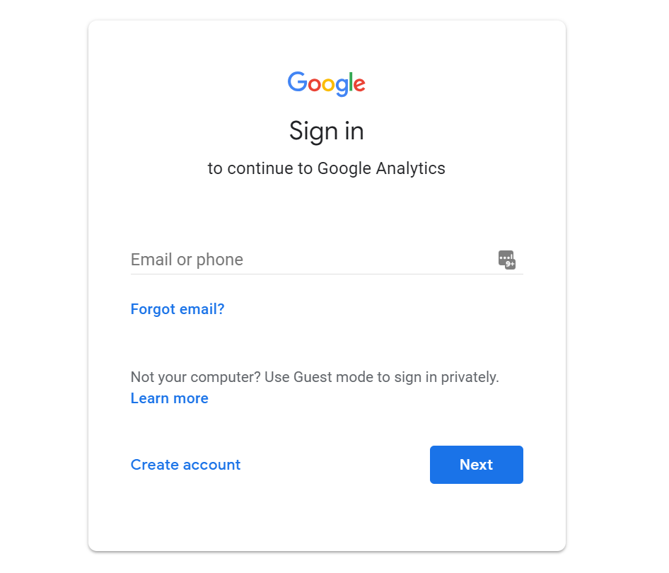 sign into Google Analytics step 2