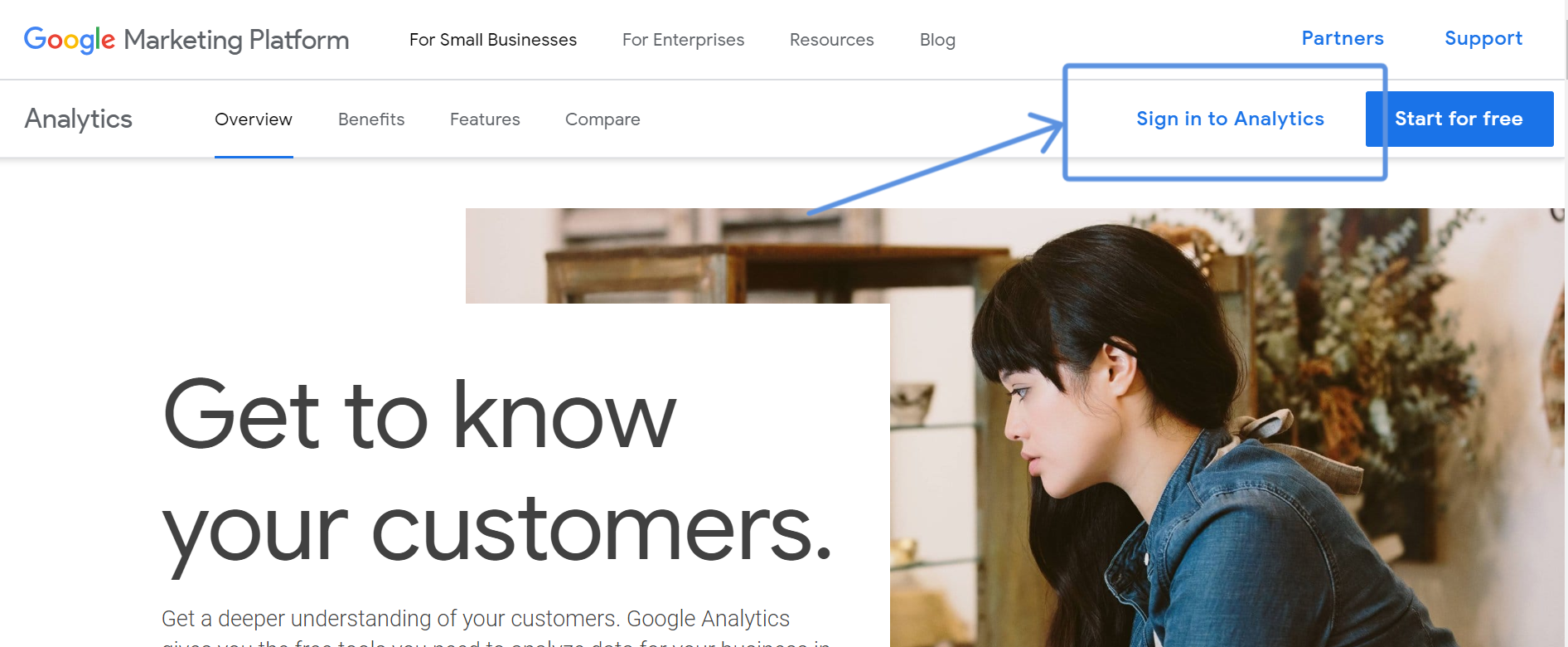 sign into Google Analytics