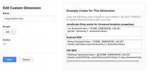 Creating a custom variable in Google Analytics.