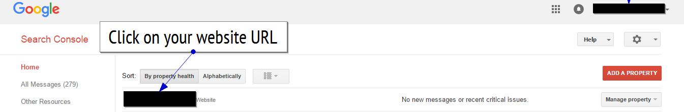 select site in google search console