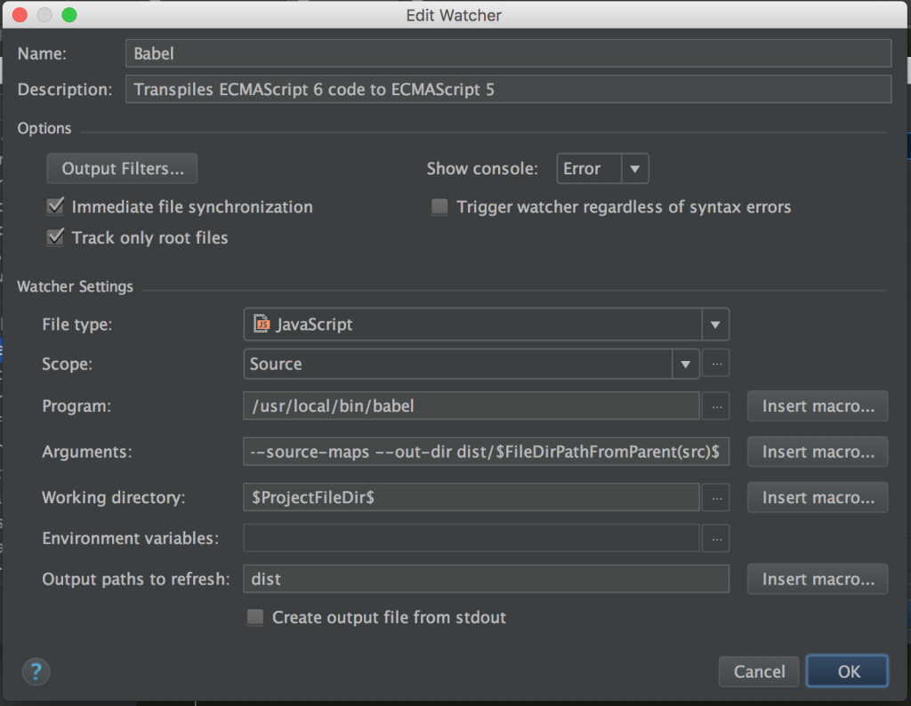Configuring Babel File Watcher