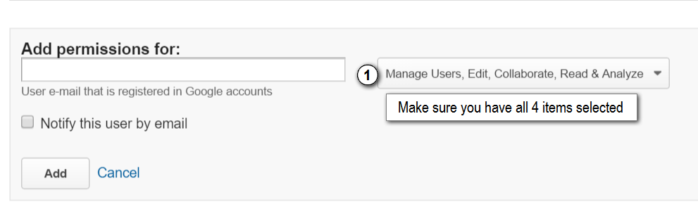 Google Analytics adding permissions