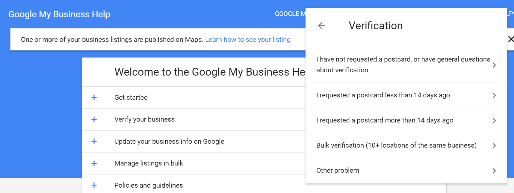 Choose verification issue for Google My Business