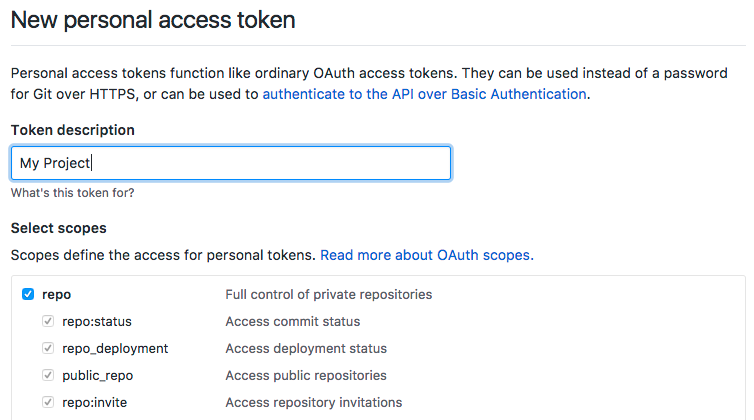 Github's Generate New Token Page