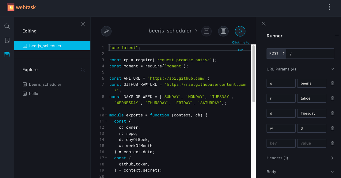 Screenshot of the Webtask.io Online Editor