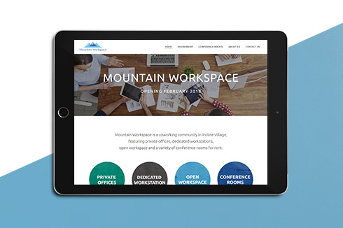 mountain workspace website on tablet