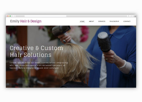 Emily Hair and Design custom Weebly website