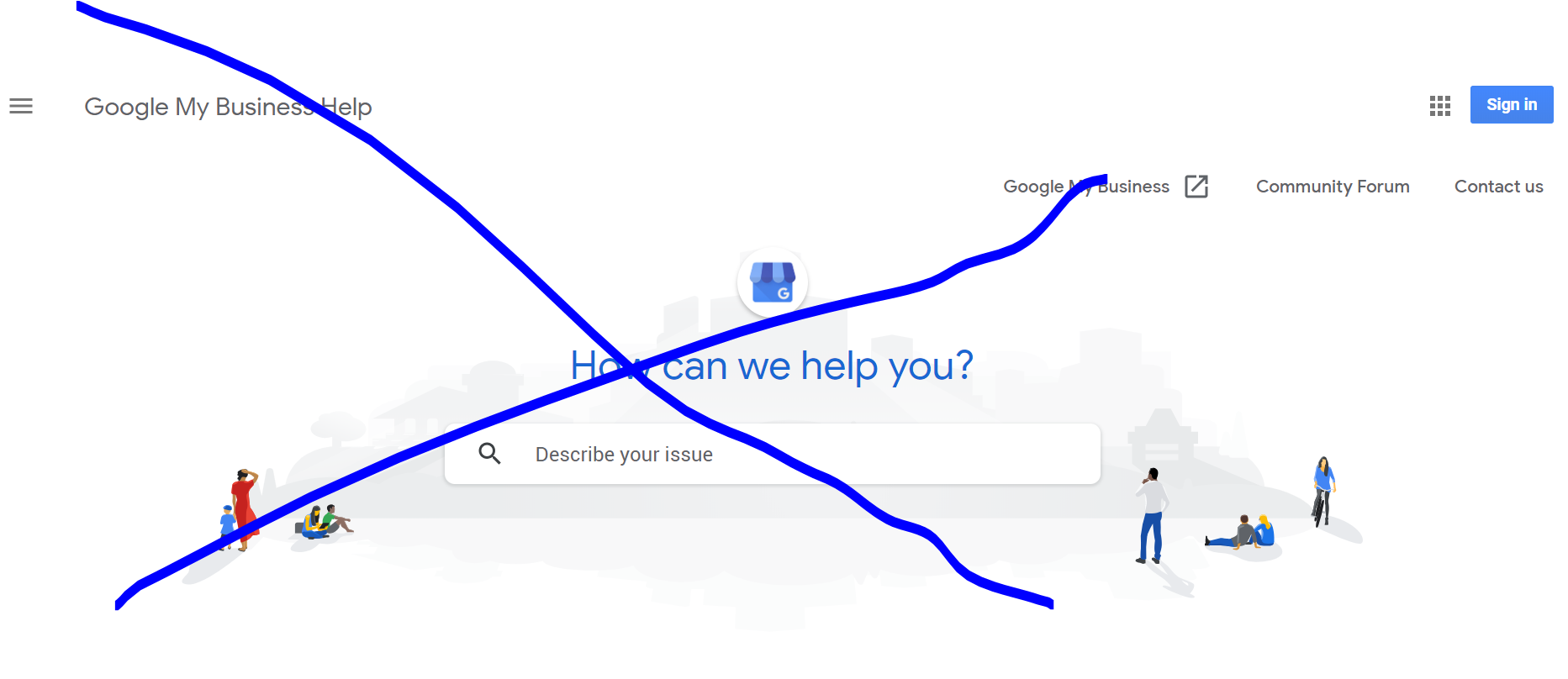google my business general help screen logged out