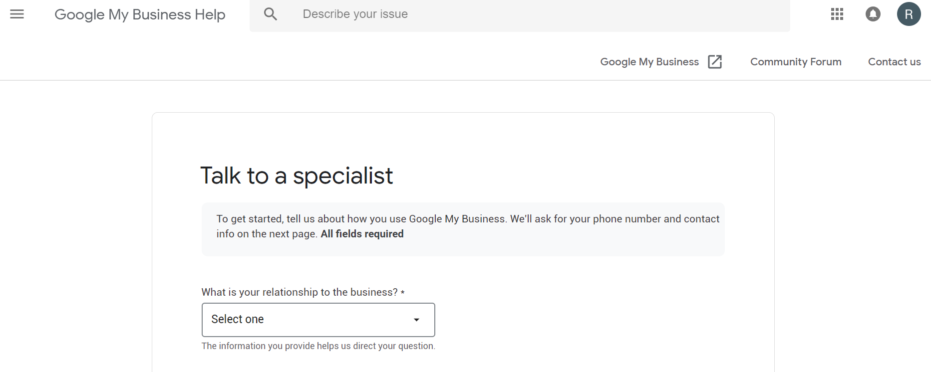 google my business talk to a specialist
