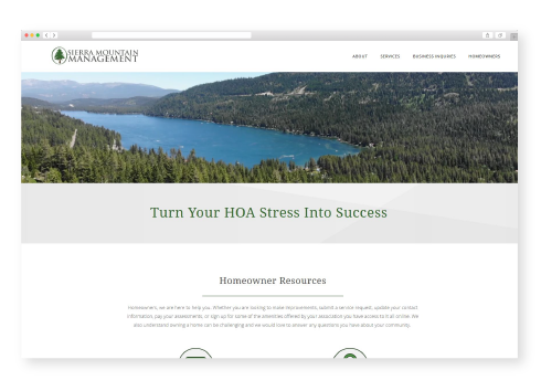 Sierra Mountain Management desktop website design