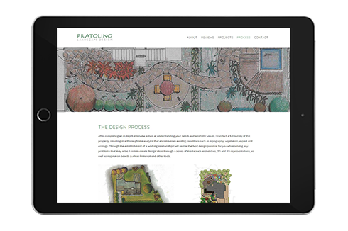 Pratolino Landscape Design website design