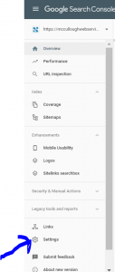 select settings in google search console