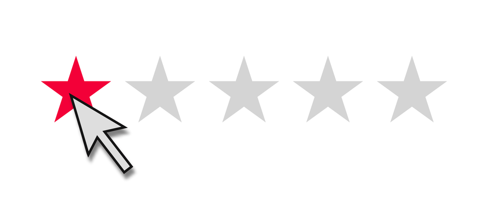 mouse clicking one star negative review rating