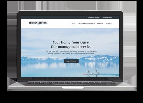 Yeti website design on laptop
