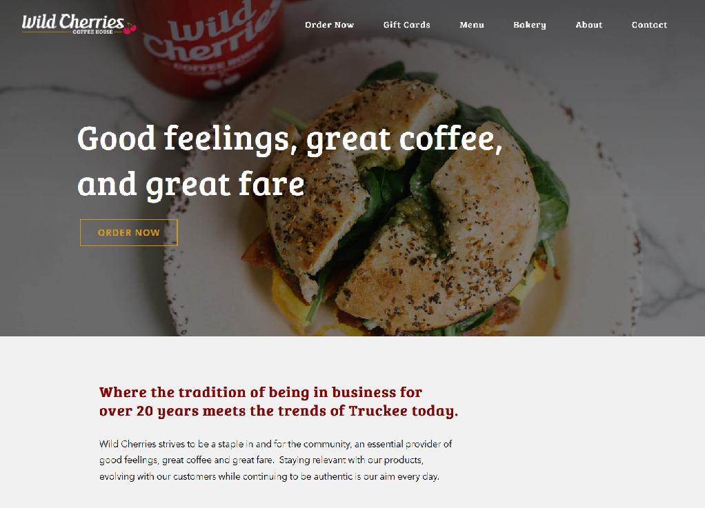 Wild Cherries in Truckee homepage design